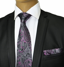 Grey and Purple Silk Tie Set by Paul Malone Red Line