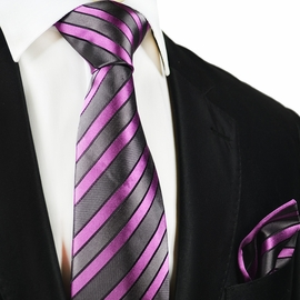 Grey and Purple Striped Silk Tie and Pocket Square by Paul Malone