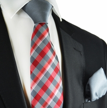 Grey and Red Contrast Knot Tie Set by Paul Malone