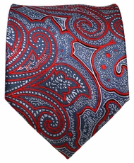 Grey and Red Paisley Men's Tie