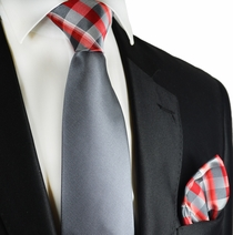 Grey and Red Paul Malone Contrast Knot Tie Set
