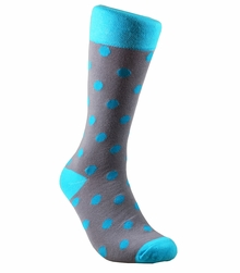 Grey and Turquoise Cotton Dress Socks by Paul Malone