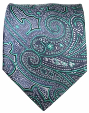 Grey and Turquoise Paisley Men's Tie