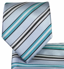 Grey and Turquoise Tie and Pocket Square Set