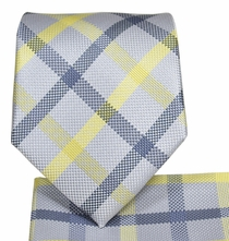Grey and Yellow Necktie and Pocket Square