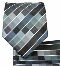 Grey Checkered Necktie and Pocket Square Set