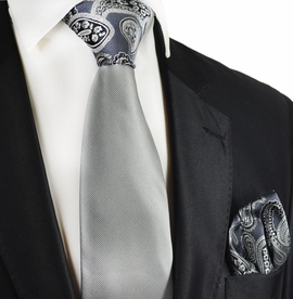 Grey Contrast Tie and Pocket Square by Paul Malone