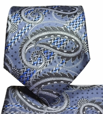 Grey Paisley Tie and Pocket Square Set