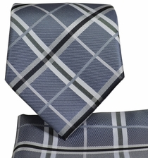 Grey Plaid Necktie and Pocket Square