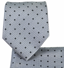 Grey Polka Dots Necktie and Pocket Square