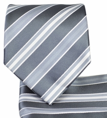 Grey Striped Necktie and Pocket Square