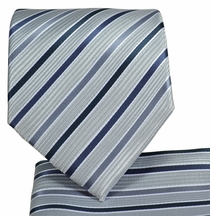 Grey Striped Necktie and Pocket Square Set (Q575-H)