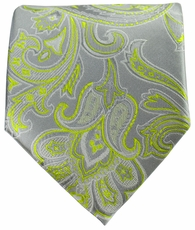 Grey with Green Men's Necktie