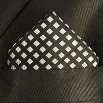 Black and Silver Paul Malone Pocket Square (H305)