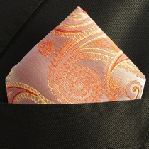 Hand Made Pocket Square . Coral Paisleys