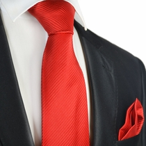Hibiscus Red 7-fold Silk Tie and Pocket Square Set