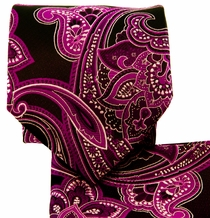Hot Pink and Black Paisley Necktie Set (Q569-Q)