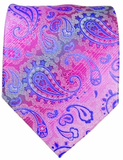 Hot Pink and Blue Paisley Men's Tie