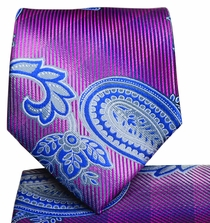 Hot Pink and Blue Paisley Tie and Pocket Square