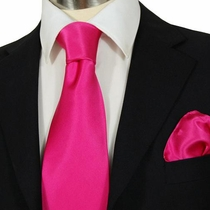 Hot Pink Satin Steven Land Silk Necktie Set (SL200)