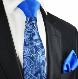 Imperial Blue Paisley Contrats Knot Tie Set by Paul Malone