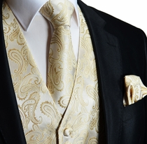 Ivory and Tan Paisley Mens Vest Set (Q20-T)