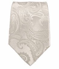 Silver White Paisley Boys Tie by Paul Malone . 100% Silk