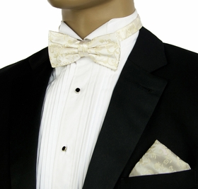 Ivory Wedding Bow Tie and Pocket Square Set . 100% Silk (BT930H)