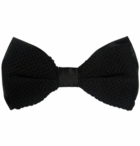 Knit Bow Tie and Pocket Square . Black