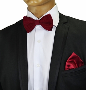 Knit Bow Tie and Pocket Square . Burgundy