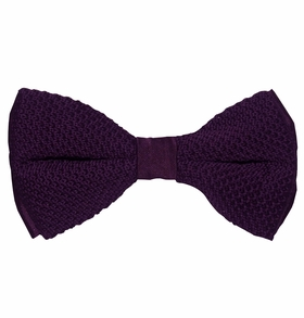 Knit Bow Tie and Pocket Square . Purple