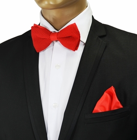 Knit Bow Tie and Pocket Square . Solid Red (BTK100-O)