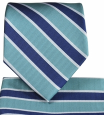 Lake Blue Striped Necktie and Pocket Square Set