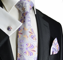 Lavender a. Gold Paul Malone Silk Tie Set (1007CH)