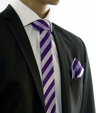Lavender and Silver SLIM Tie Set by Paul Malone (Slim243H)