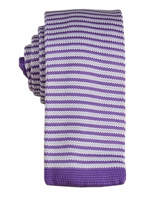 Lavender and White Striped Knit Tie by Paul Malone