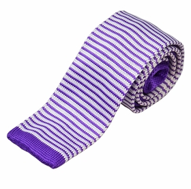Lavender and White Striped Knit Tie by Paul Malone (KN676)