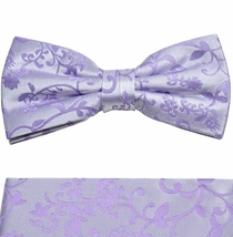 Lavender Wedding Bow Tie and Pocket Square Set . 100% Silk (BTP93H)