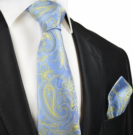 Light Blue and Yellow Silk Tie and Pocket Square by Paul Malone