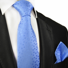 Light Blue Silk Tie and Pocket Square by Paul Malone