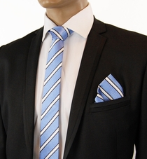 Light Blue Striped SLIM Silk Tie Set by Paul Malone
