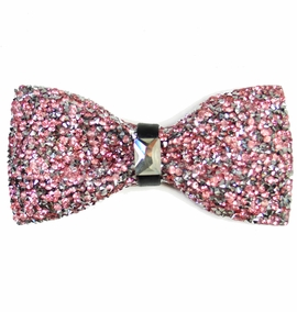 Light Pink Crystal Bow Tie