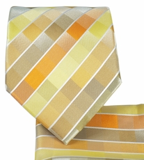 Light Yellow Necktie and Pocket Square Set