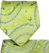 Lime Green Paisley Necktie and Pocket Square Set