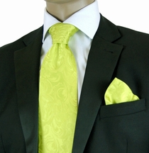 Lime Green Paisley Necktie and Pocket Square Set by Steven Land (SL100-Lime)