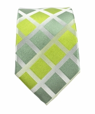 Lime Green Slim Silk Tie by Paul Malone