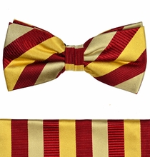 Maroon & Gold Silk Bow Tie and Pocket Square by Paul Malone