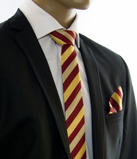 Maroon and Gold SLIM Silk Tie Set by Paul Malone (Slim245H)