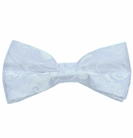 Men's Bow Tie . Pretied or Self-tie . White Paisley (BT20-A)