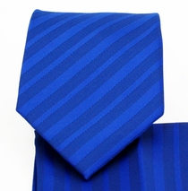 Men's Necktie and Pocket Square Set . Blue on Blue Stripes (MT4014-F)